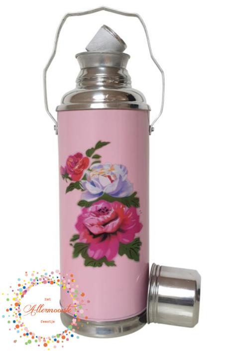 Roze fles met rozen